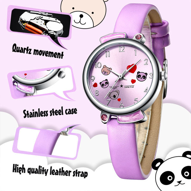 Kids Watch KDM 2019 Fashion Casual Student Girl Boy Watch Cute Cartoon Panda Waterproof Genuine Leather Watch For Kids Children 5