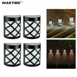 Wakyme 4 pçs/lote solar led luz ao ar livre à prova dwaterproof água solar lâmpada de parede luz para jardim decoração rua quintal caminho cerca lâmpada