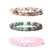 Натуральный камень бусины браслет для женщин и мужчин бусины Лава Агаты кварц чакра браслеты для йоги для женщин ювелирные изделия подарки