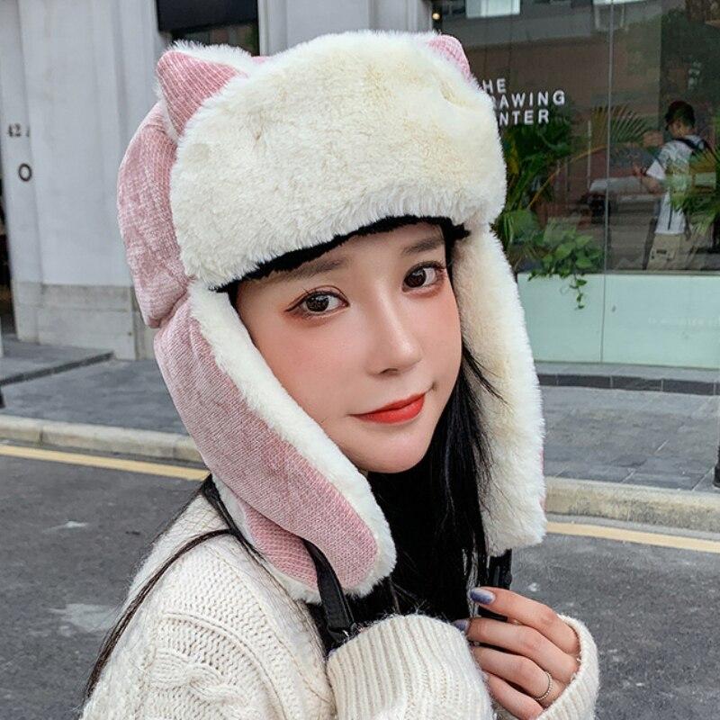 Ht3324 Новая Милая женская зимняя шапка с ушками Женская Толстая