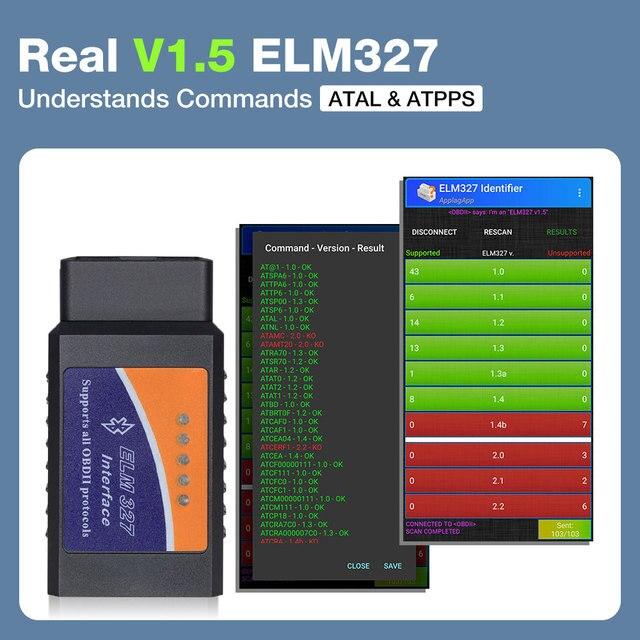 ELM327 V1.5 PIC18F25K80 Chip OBD2 Code Reader Bluetooth J1850 Power Switch on/off 12V OBDII ELM 327 Diagnostic tool Scanner 3