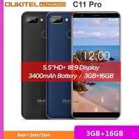 Oukitel C11 Pro 4G Smartphone da 5.5 Pollici 18:9 Android 8.1 Quad Core 3 Gb di Ram 16 Gb di Rom Cellulare telefoni 3400 Mah Del Telefono Mobile