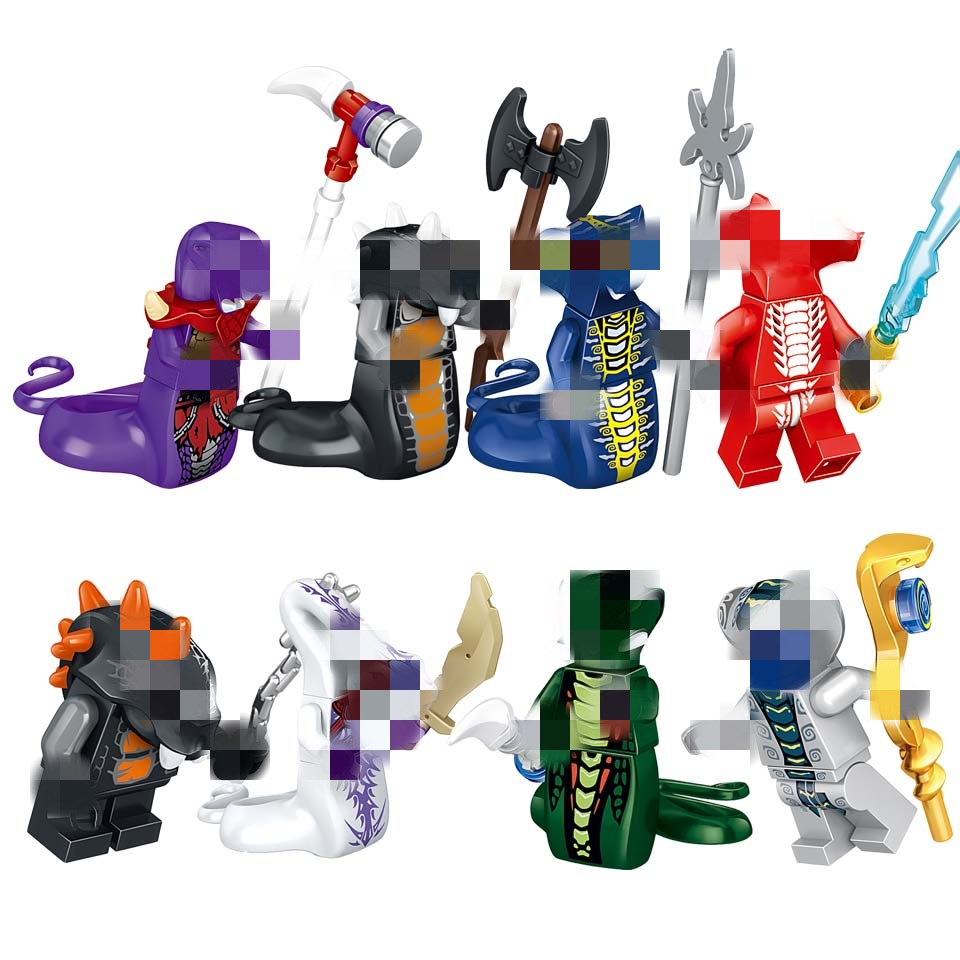 8piece/set Ninjagoings Snake Acidicus Building Blocks Toys Lepining Action Figure Model Toy For Child Skales Pythor With Weapons
