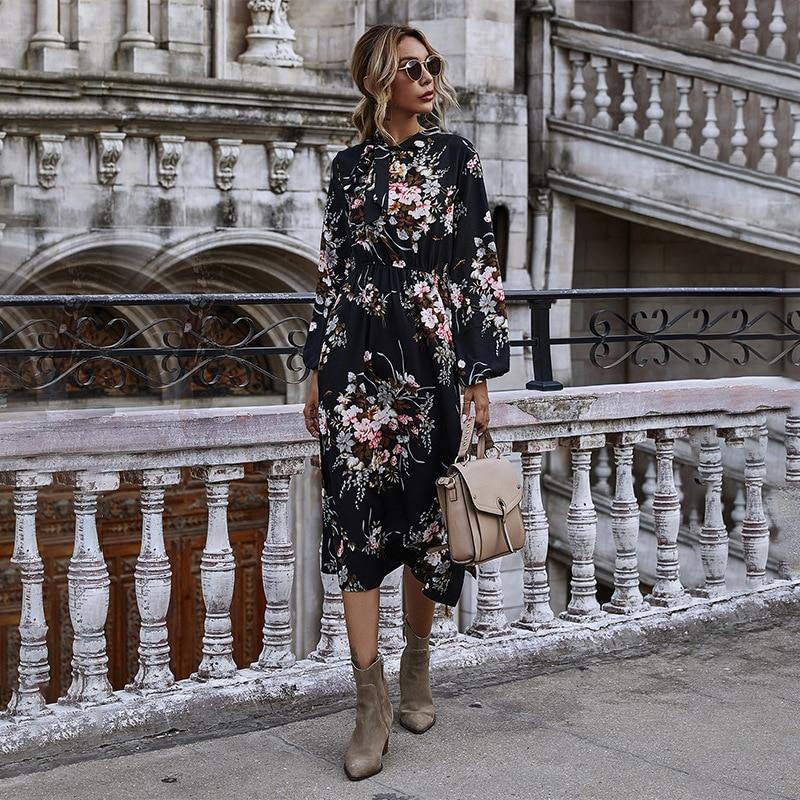 Женское Цветочное платье с пышными рукавами на осень и зиму, Повседневное платье с бантом и воротником стойкой, платье с длинными рукавами и высокой талией, новинка 2020|Платья| | АлиЭкспресс