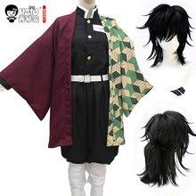 HSIU Tomioka Giyuu אנימה קוספליי תלבושות פאה קוטלת שד: Kimetsu לא Yaiba קימונו מדים גלימת ליל כל הקדושים שחור סינטטי שיער