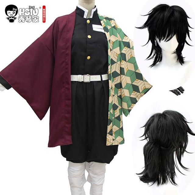 HSIU Tomioka Giyuu 애니메이션 코스프레 의상 가발 악마 슬레이어: Kimetsu no Yaiba 기모노 유니폼 Cloak Halloween Black Synthetic Hair
