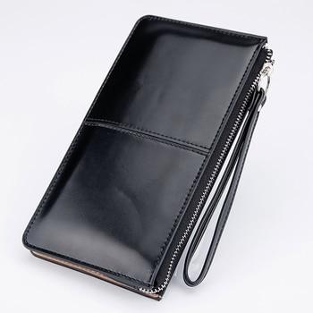 Oil Wax Leather Zipper Wallet  1