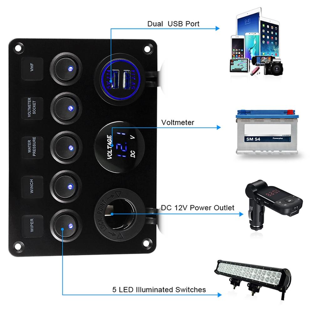 Комбинированная панель клавишный выключатель морской лодки СВЕТОДИОДНЫЙ выключатель панель цепи цифровой вольтметр 5 клавиш двойной USB по...