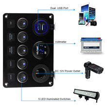 Combination Panel Rocker Switch Marine Boat LED Switch Panel Circuit Digital Voltmeter 5 Gang Dual USB Port Outlet Ship Yacht