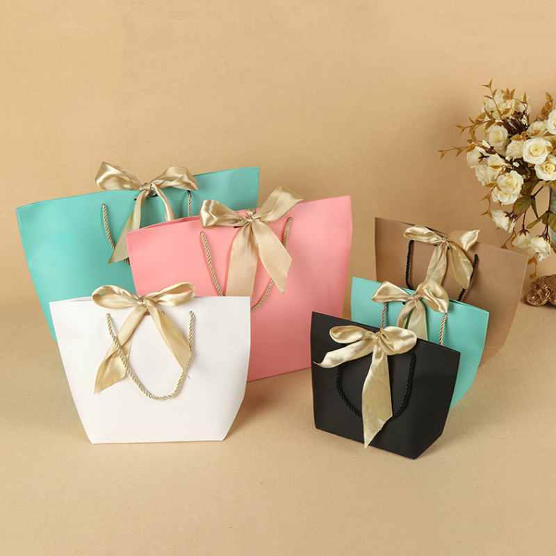 10PCS Paper Bags For Gifts Party Wedding Candy Gift Bag With Handle Shopping Storage Bag Packaging Jewelry Tote Sack With Ribbon