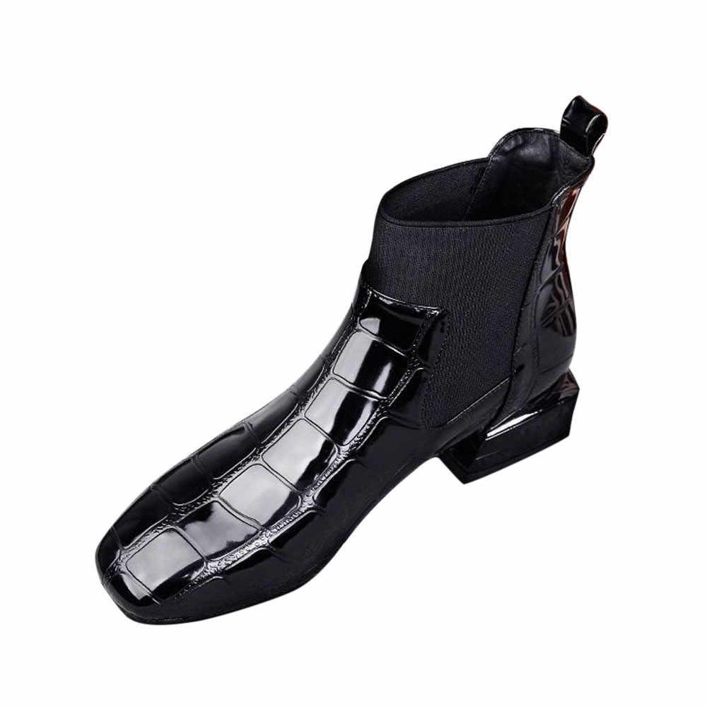 Bằng sáng chế Da Martin Ngắn Giày Bốt Thời Trang Nữ Vuông Mũi Gót Dày Chắc Chắn Chống Trơn Trượt Trên Cổ Mùa Đông Giày Nữ botas Feminina