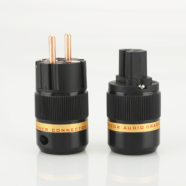 Viborg audio 1pair VE501+VF501 Pure Copper None plated  EU Schuko Power Plugs IEC Female Connector for DIY power cable