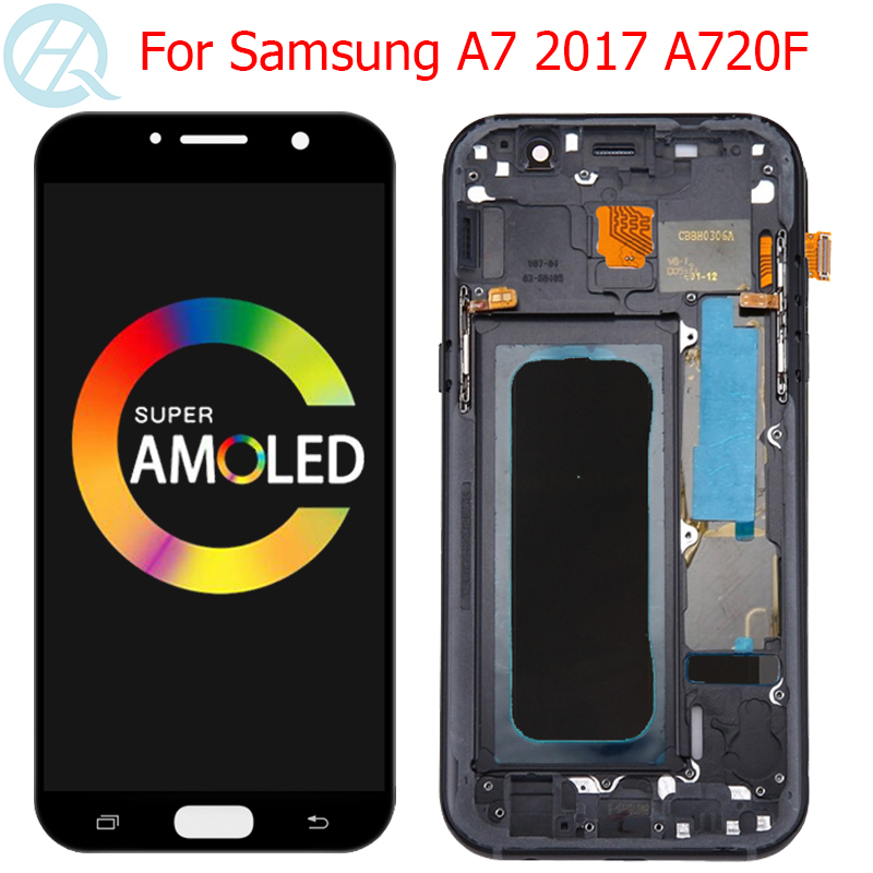 Original A720F Display For Samsung Galaxy A7 2017 LCD With Frame 5.7