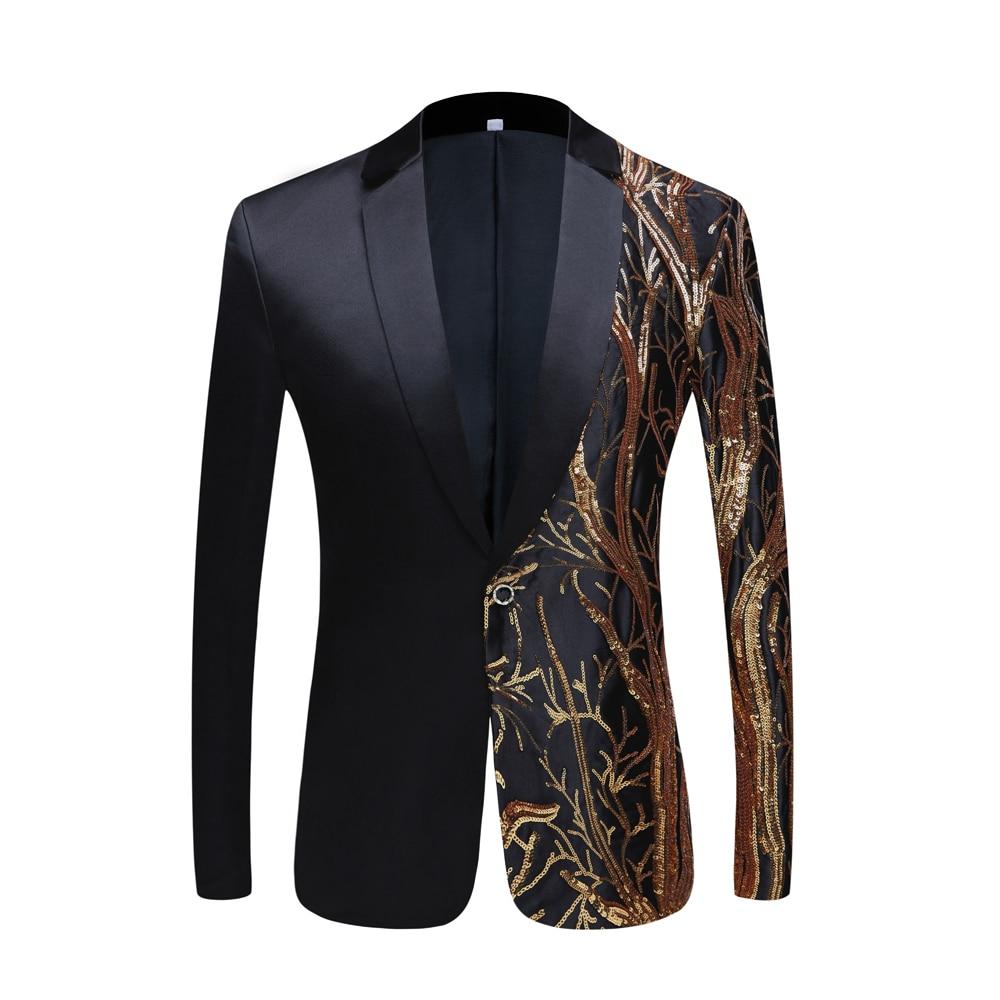 Tide Mens Gold Sequins Slim Fit Black Balzer Hip Hop Stage Singers Prom Dress Suit Jacket Party Jacket Men