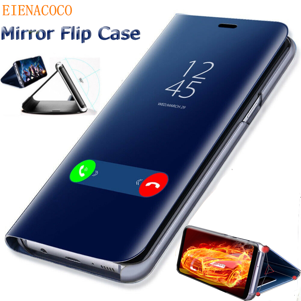 Mirror Smart Phone Case For Samsung Galaxy S9 S10 S8 Plus S7 Edge A10 A50 A70 Flip Stand Cover For Samsung Note 9 8 10 Plus Case image