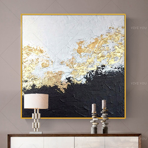 Wall Decorative Painting Handpainted Wall Art Canvas Painting Abstract Golden foil Pictures for Living Room No Frame(China)