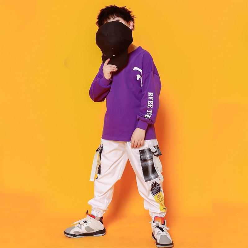 Boys Hip Hop Costumes Purple Shirts Fashion Ballroom Dance Costume Girls Jazz Clothes Set Loose Pants Dancewear for Children (5)
