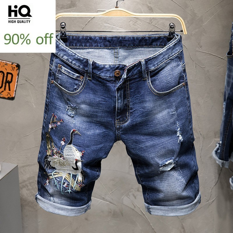 Summer New Thin Animal Embroidered Denim Shorts Men Street Vintage Slim Ripped Hole Washed Knee Length Pant Straight Jean Shorts