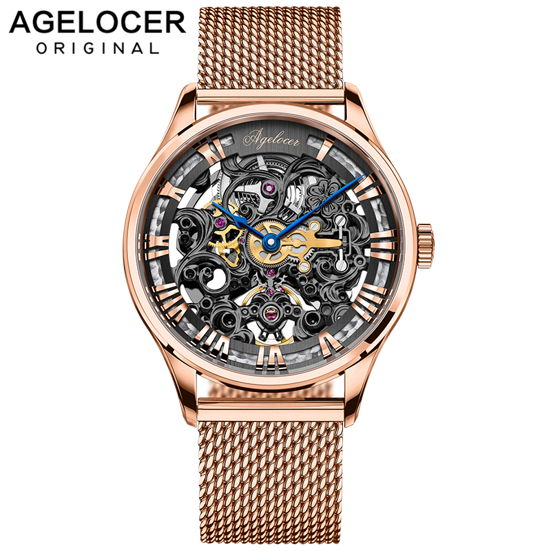 AGELOCER Brand Men watches Automatic mechanical watch Power Reserve 80 Hours Sport clock wristwatch 18k Gold relojes hombre