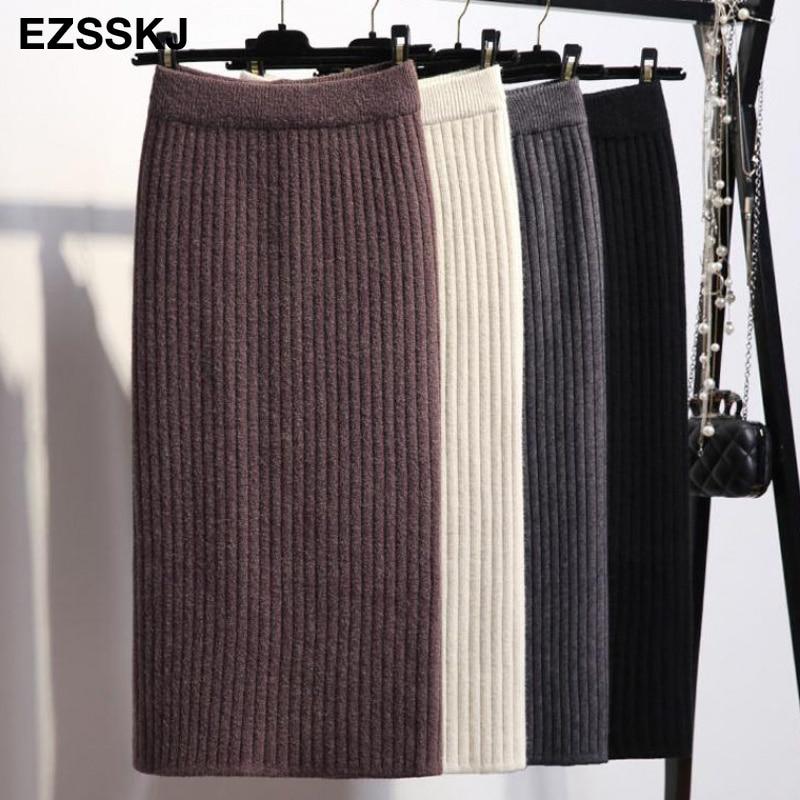 60-80CM Elastic Band Women Skirts Autumn Winter Warm Knitted Straight Skirt Ribbed Ribbed Mid-Long Skirt Black