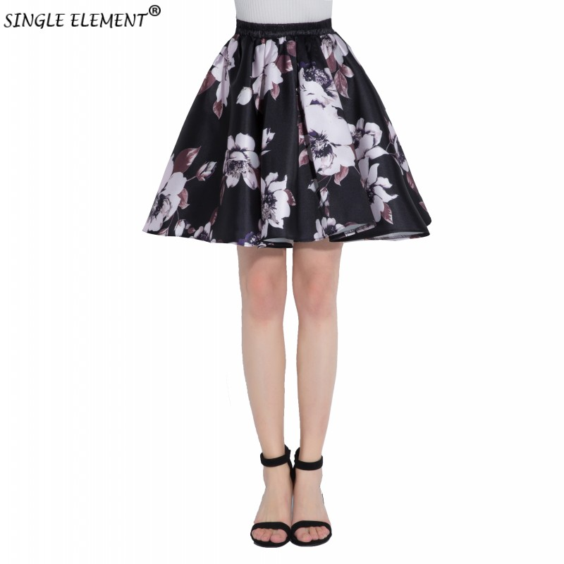 Flower Floar Printing Ladies Jacquard Pleated Ball Gown Short Skirts Womens Vintage Floral High Waist Many Choices