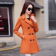 Женское шерстяное пальто размера плюс осень зима модное винтажное элегантное одноцветное оранжевое пальто на пуговицах с отворотом кашемировое шерстяное зимнее пальто