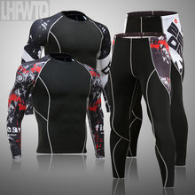 2019 conjnto de roupa intior térmica dos hoens MMA guarda erupção táticas leggins de Compressão Dos homens de Cor sólida de finess set Roups marcas de homns