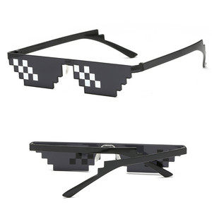 Image 4 - TTLIFE Funny Glasses Men Thug Life Sunglasses Mosaic Masculine 8 Bits Style Pixel Ridiculous Accessory Black Polygonal Oculos