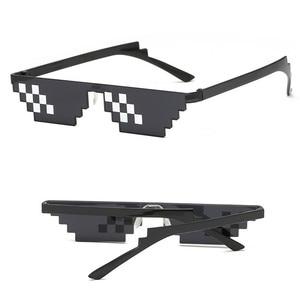 Image 4 - TTLIFE забавные мужские очки Thug Life солнцезащитные очки мозаика мужские 8 бит стиль пиксель смешной аксессуар черный полигональный Óculos