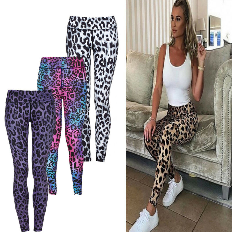 Goocheer Fashion Women Ladies High Waist Beathable Elastic Leopard Print Leggings Workout Trousers  Fitness Leggings Slim Pants