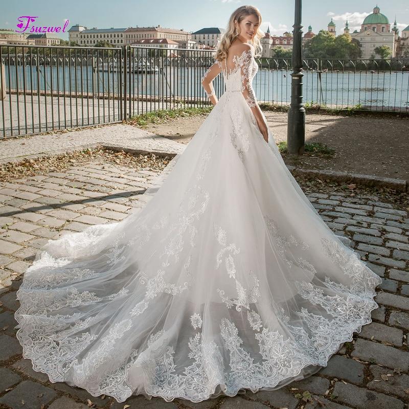 Fsuzwel Romantic Scoop Neck Button A-Line Wedding Dresses 2019 Luxury Beaded Appliques Long Sleeve Princess Bride Gown Plus Size