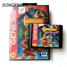 16 קצת MD זיכרון כרטיס עם תיבה עבור Sega Mega עבור בראשית Megadrive Castlevania Bloodlines
