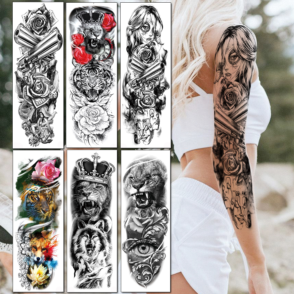 Long Full Arm Temporary Tattoos Realistic Fake Black Gangster Gun Rose Tatoos Sleeve Angle Warrior Tattoo Stickers For Women Men