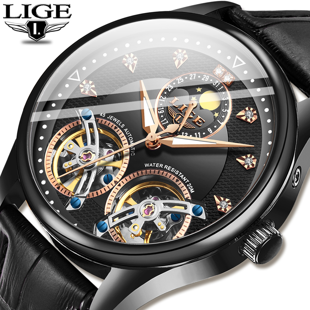 LIGE Official New Men Mechanical Watch Automatic Tourbillon Fashion Watches Leather Waterproof Sport High Quality Watch Men 2020