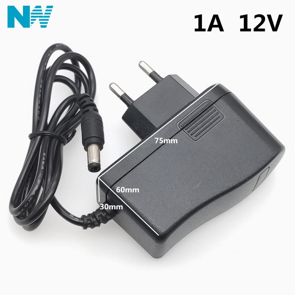 12V1A New AC 100V-240V Converter power Adapter DC <font><b>12V</b></font> 1A <font><b>1000mA</b></font> Power Supply Adapter EU Plug DC 5.5mm x 2.1mm(2.5mm) image