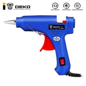 DEKO 20W EU Plug Hot Melt Glue Gun with 7mm Glue Stick Industrial Mini Guns Thermo Electric Heat Temperature Tool(China)
