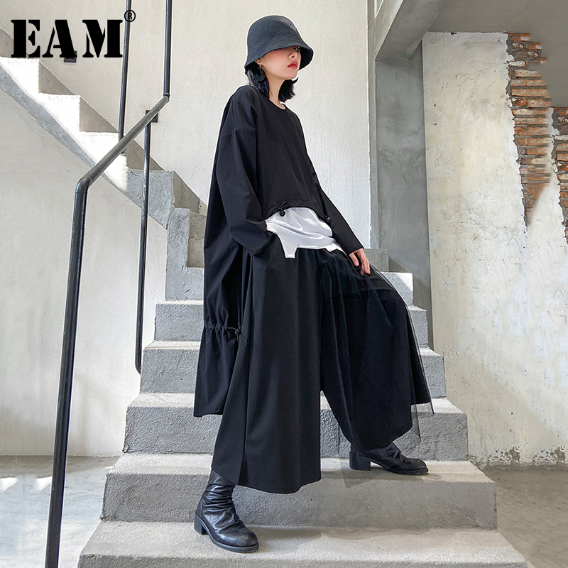 [EAM] Women Black Bak Long Two Piece Big Size Dress New Round Neck Long Sleeve Loose Fit Fashion Tide Spring Autumn 2020 1R471