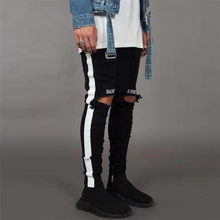 Ripped Jeans Men's Streetwear Denim Embroidery Cotton Straight Hole Pocket Trouser Distressed Jeans Pencil Pant Trousers(China)