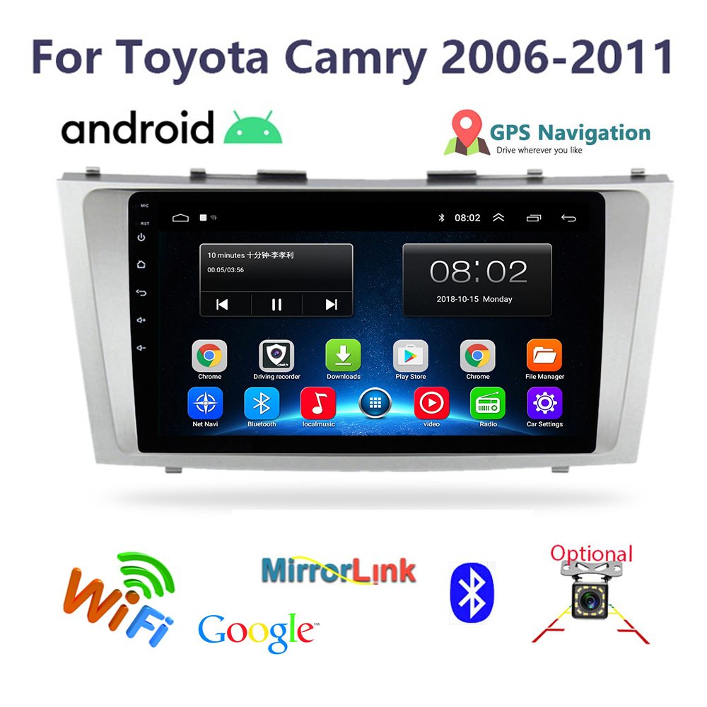 """Android intelligent 9"""" Car Multimedia Player 2 din car radio for toyota camry 2006-2011 GPS navigation Autoradio Stereo player"""