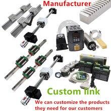 Customized CNC Kit HGR20 SBR16 SFU1605 MGN linear guide rail ball screw name 23 stepper motor spindle inverter for DIY machine