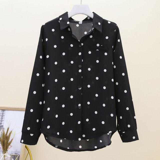 2021 New Summer Vintage Polka Dot Women Blouse Plus Size 4XL Loose Casual White Shirts Elegant Long Sleeve Female Chiffon Tops 1