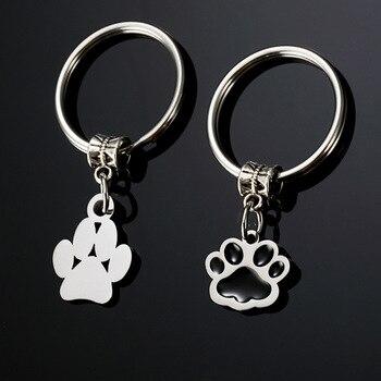 Zciti  keychain Personalized cute jewelry pet dog paw cat foot footprint pendant Key Chain