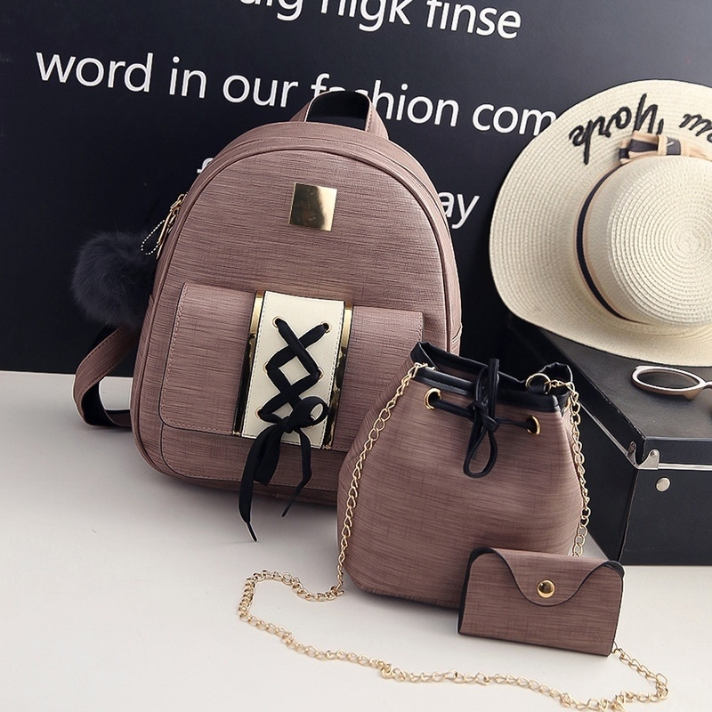 3Pcs/Set Women Backpack Set Pu Leather Female Fashion Casual Backpack +bucket Bag+ket Purse School Bags for Teenagers Girls