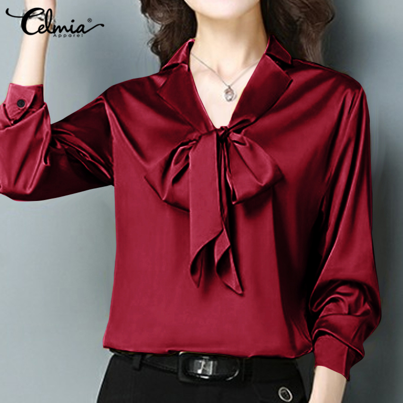 Celmia Women's Satin Blouses 2020 Elegant OL Shirts Long Sleeve Casual Loose Bow Tie Ladies Office Tops Solid Silk Blusas S-5XL