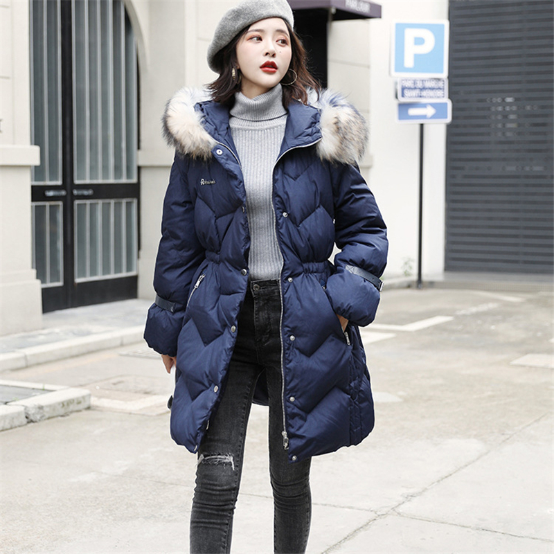 2019 Winter New   Down   jacket Women Hooded raccoon fur collar Loose   Down     Coat   Korean Fashion Thick white duck Parka Female W151