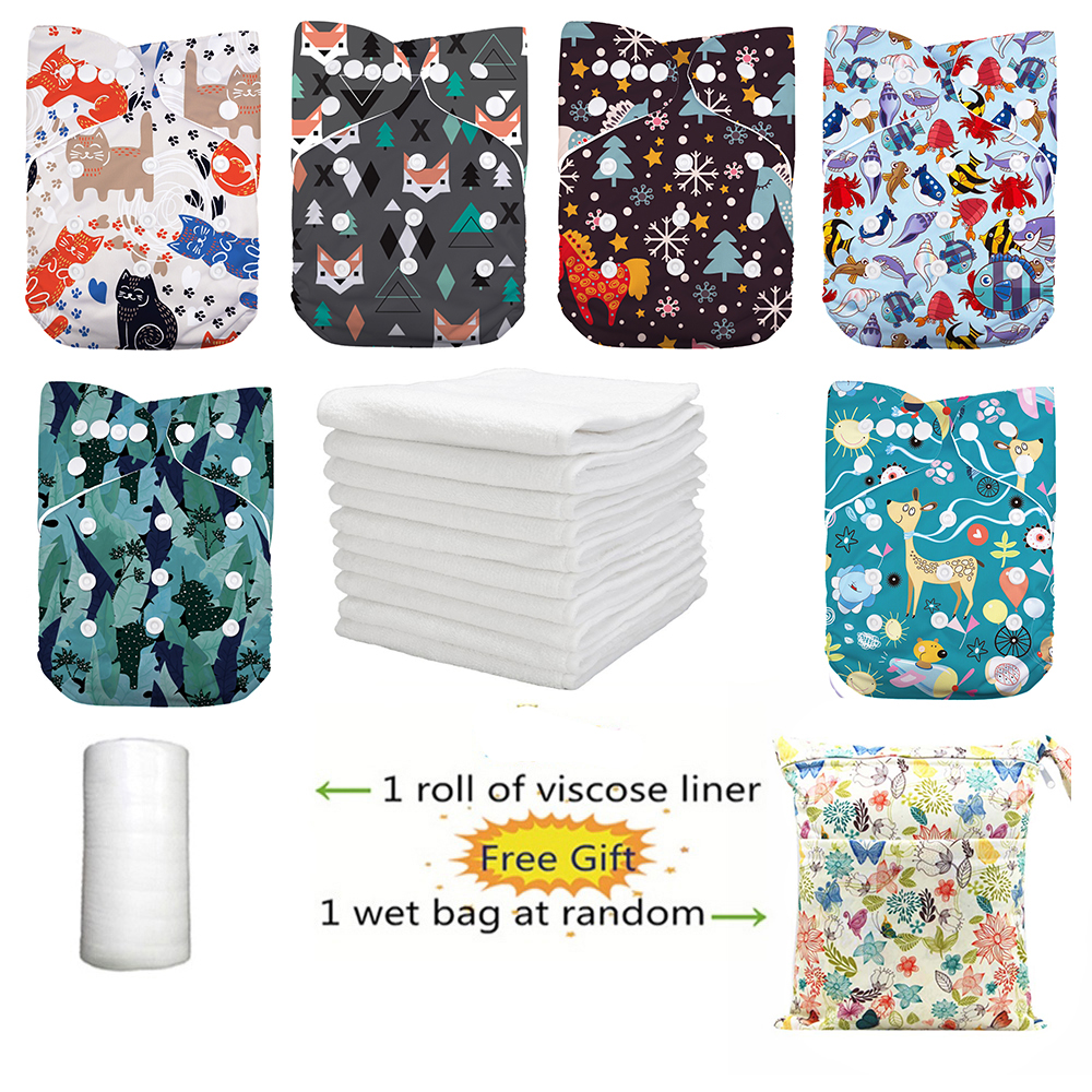 LilBit 6 Pcs Pack Reusable Washable Pocket Baby Cloth Diapers