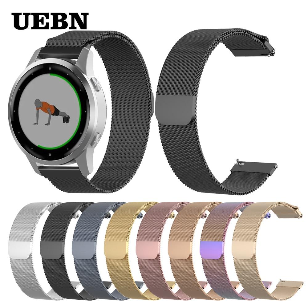 UEBN 18mm 22mm Milanese Loop Strap For Garmin Vivoactive 4 4S Bracelet For Garmin Active S Vivomove 3s Watchbands