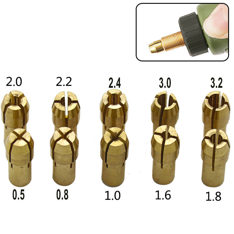 10pcs 0.5-3.2mm Three-jaw Copper Drill Chuck Collet Clip Bit Set For Dremel Rotate Tool Electric Grinding Accessories