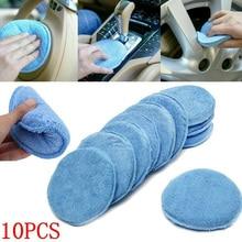10pcs Blue Car Waxing Polish Microfiber Foam Sponge Applicator Cleaning Pads Care Maintenance Kits 5 Inch Maintenance Products