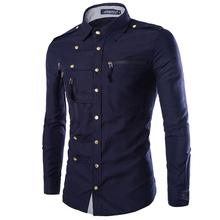 2020 styl angielski męskie formalne ubranie koszule Vinatge styl wojskowy Muti przycisk koszula męska wiosna mężczyzna Tuxedo koszula Plus rozmiar A442 tanie tanio COTTON Poliester Tuxedo koszule Pełna Skręcić w dół kołnierz Pojedyncze piersi REGULAR Suknem Anglia styl Stałe Shirts